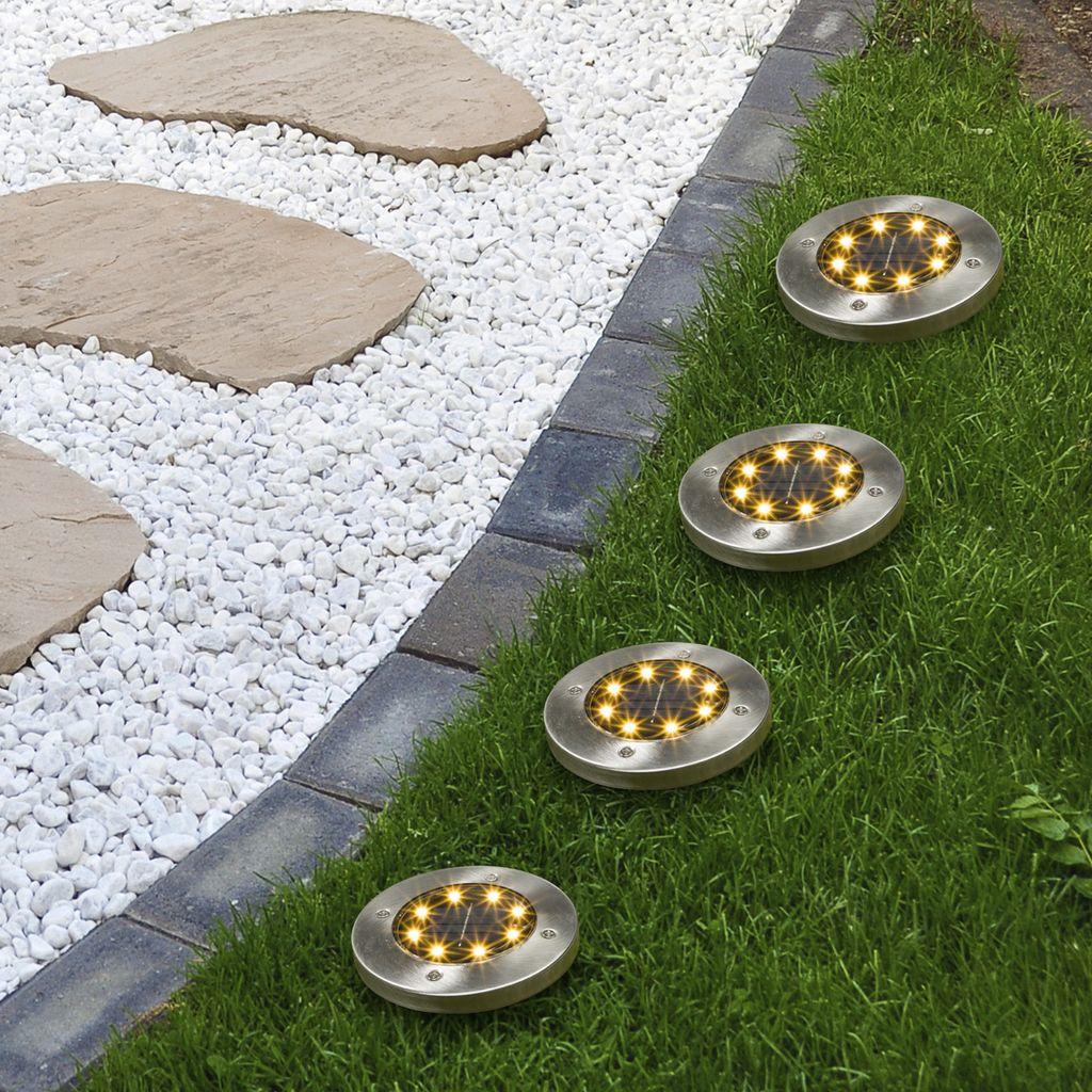 HI LED Solar Bodeneinbauleuchten 9 Stk.