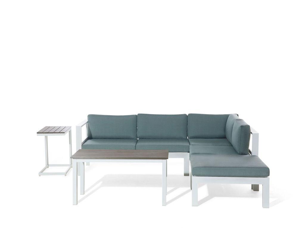 Lounge Set Weiß Grün Kunstholz Aluminium 20 Sitzer inkl. Auflagen Mediterran  Stil Terrasse Outdoor
