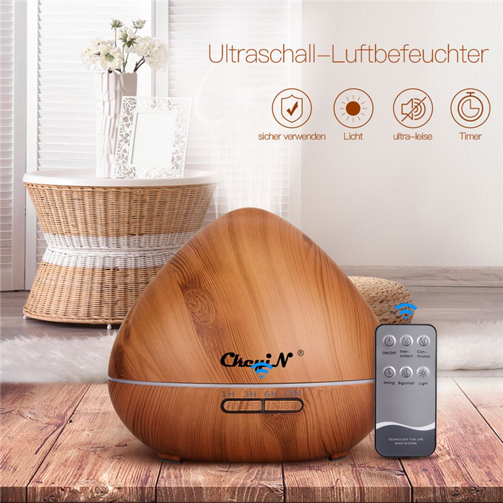 Aroma-Diffuser Ultraschall Luftbefeuchter Holz Humidifier Duftlampe Öle Diffusor