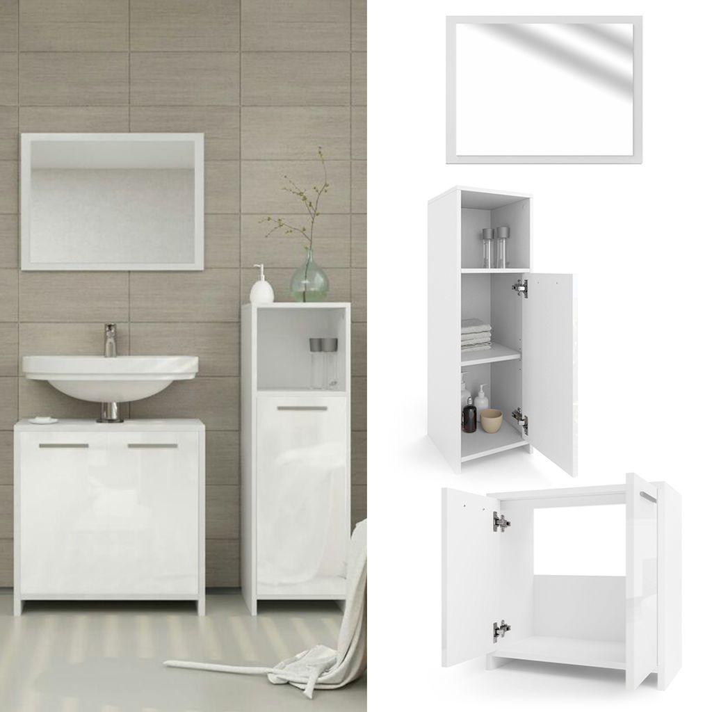 Vicco Badmöbel Set KIKO Weiß Hochglanz   Badezimmer Spiegel  Waschtischunterschrank Bad Midischrank