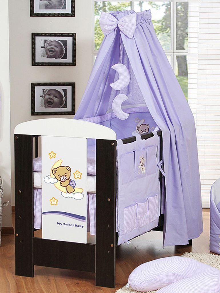 Himmel für Babybett mit Stange Himmelstange Halterung Baumwolle    Betthimmel Lila von KleinBaby