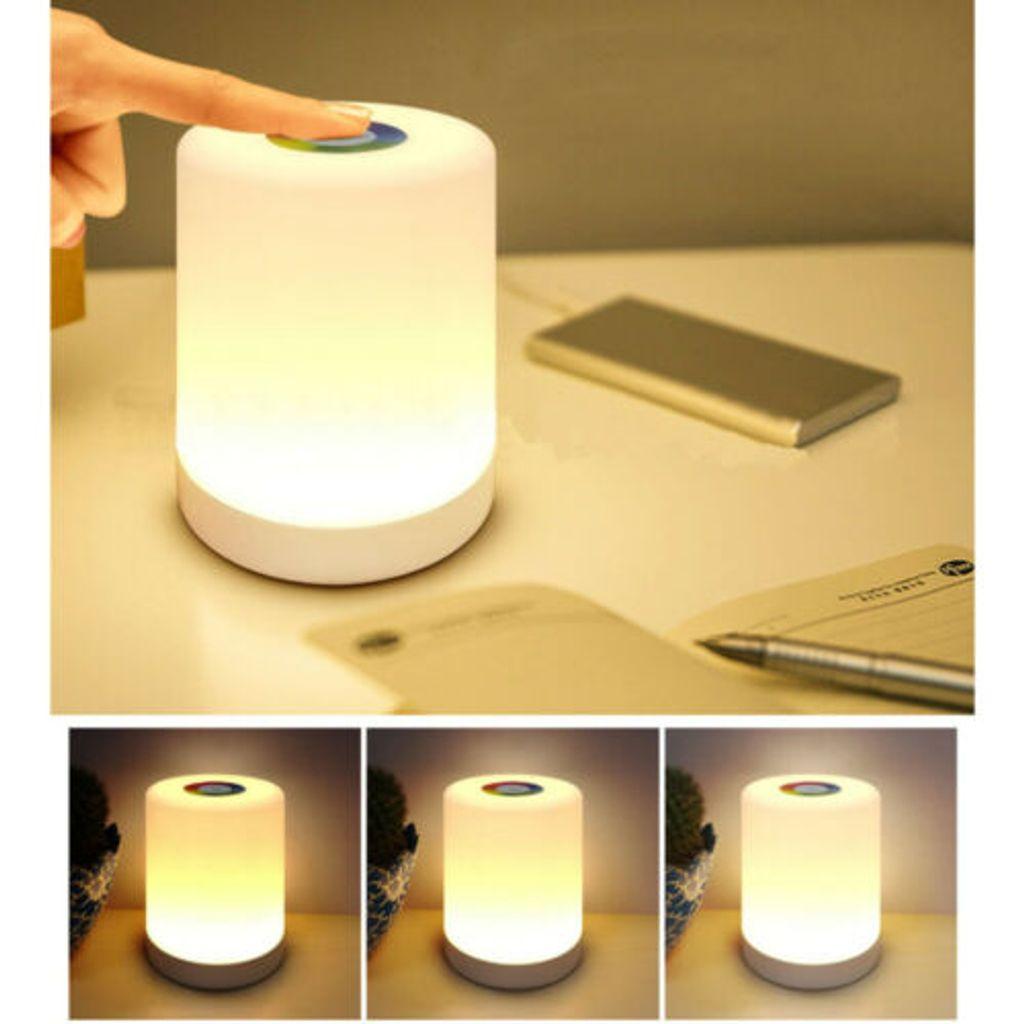 LED Nachttisch Lampe Touch Sensor Dimmbar Kinder Nachtlicht Mit RGB  Tischlampe