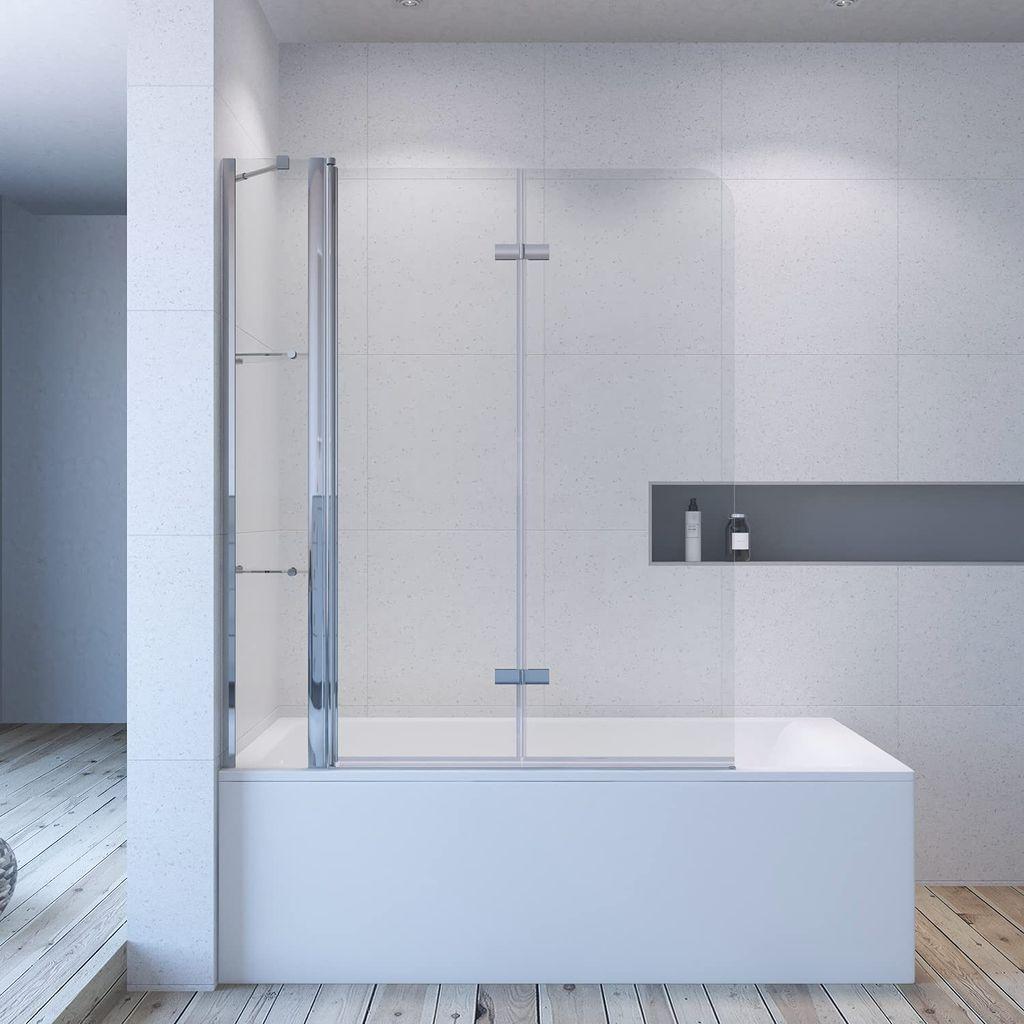 Duschabtrennung für Badewanne 20 x 20 cm Duschtrennwand Glaswand faltbar  mit Festteil Duschablage aus Sicherheitsglas 20mm mit Lotuseffekt ...
