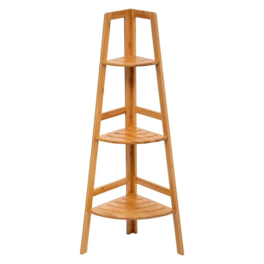 Eckregal für Badezimmer, Bambus, 20 Ablagen