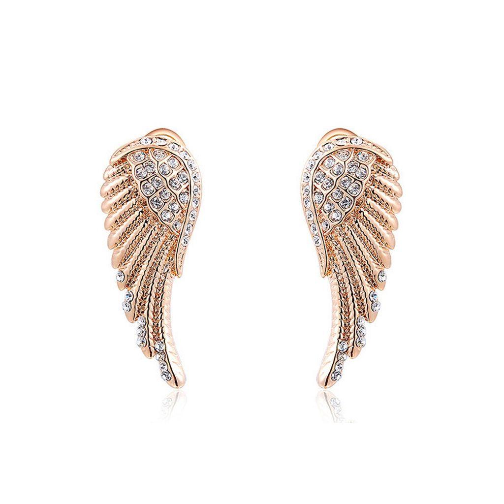 Damenohrringe Anhänger Flügel Gold Edelstahl Engelsflügel Ohrhänger Ohrstecker