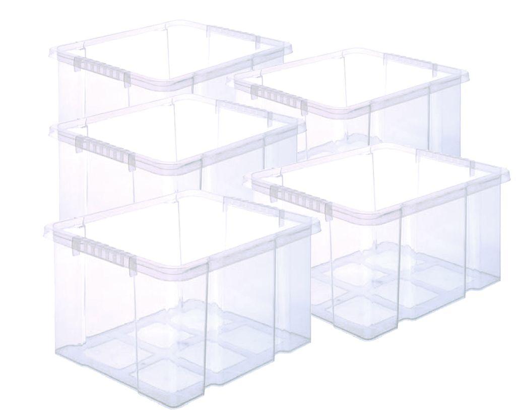 transparent aus Kunststoff Aufbewahrungsbox set mit Deckel Stapelboxen
