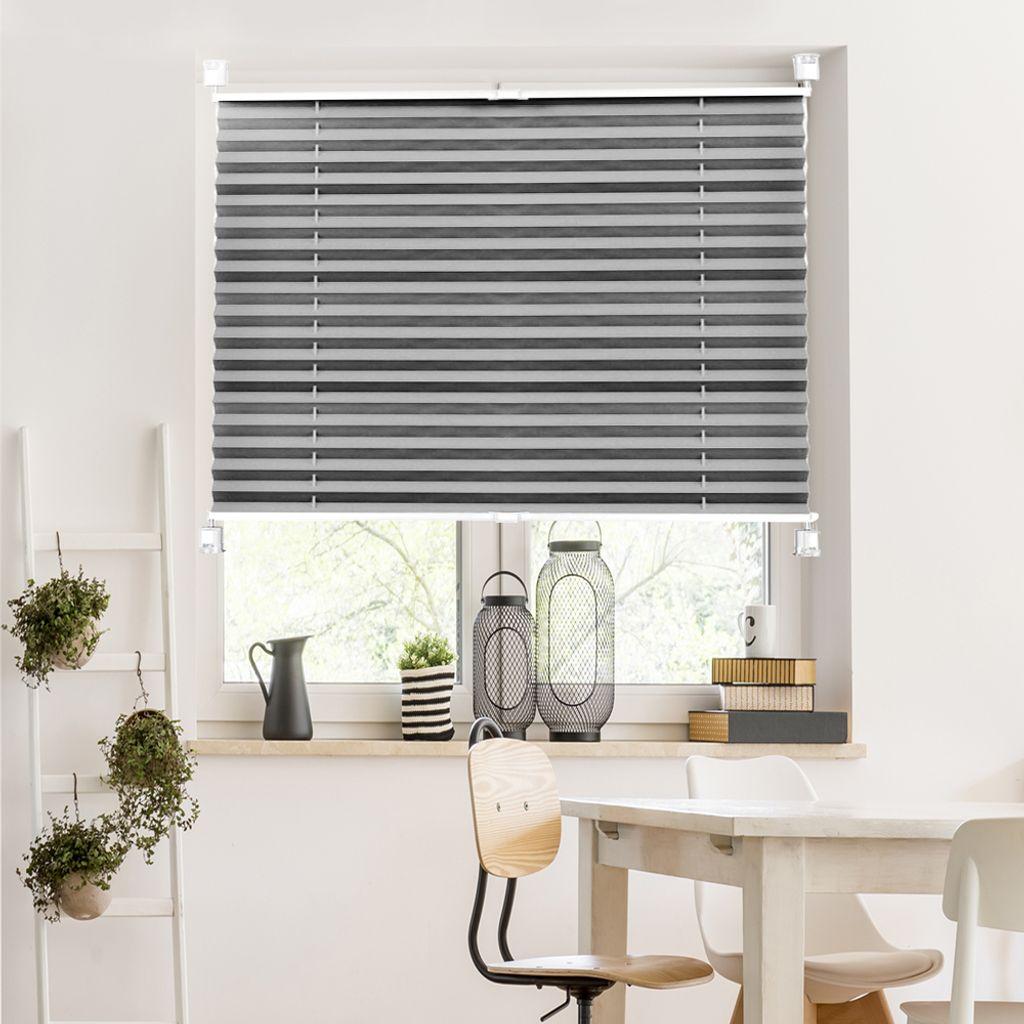 Plissee Klemmfix Fenster Jalousie Rollo Sonnenschutz 20x20 cm Grau ,  inkl. Zubehör