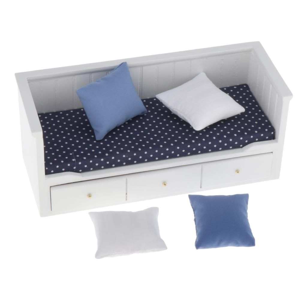 12 Puppenhaus Miniatur Schlafzimmer Möbel Bett Massivholz Puppenhauszubehör 1