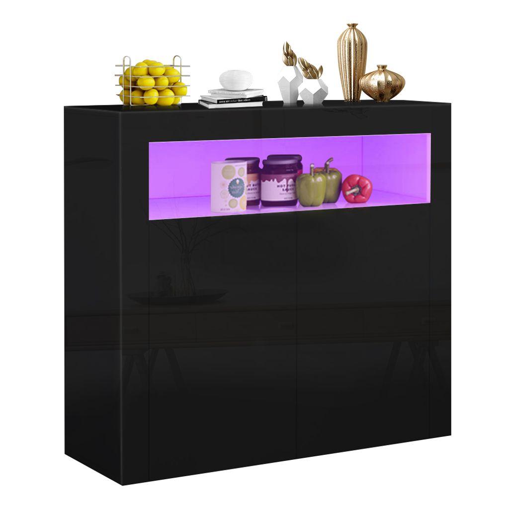 Kommode Schrank Küchenschrank Sideboard Anrichte matt Hochglanz  mit LED-Leuchte