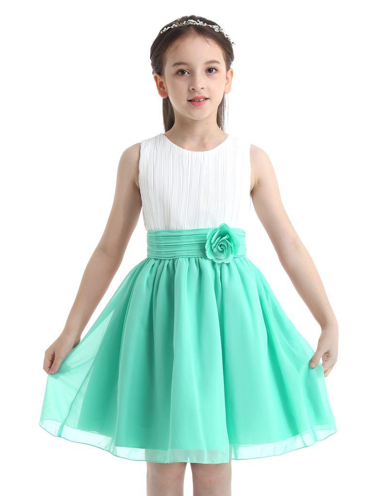 IEFIEL Schönes Kinder Mädchen Kleider Festlich Prinzessin Partykleid  Hochzeit Chiffon Sommer Kleid mit Blumen