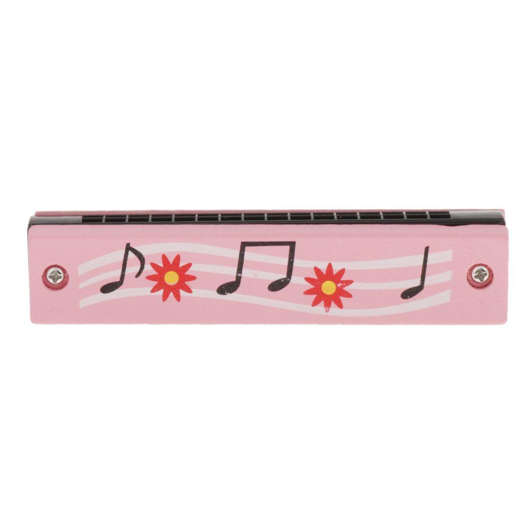 Hölzerne Mundharmonika 16 Löcher Für Kinder Kinder Musikspielzeug Pink