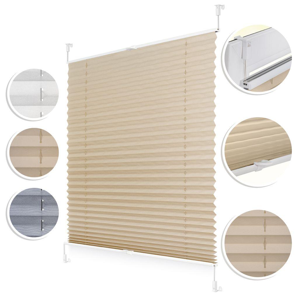 Plissee Klemmfix, verspannt, blickdicht, Sichtschutz Sonnenschutz Jalousie  Klemmrollo Jalousie Creme,20 cm x 20 cm B x L