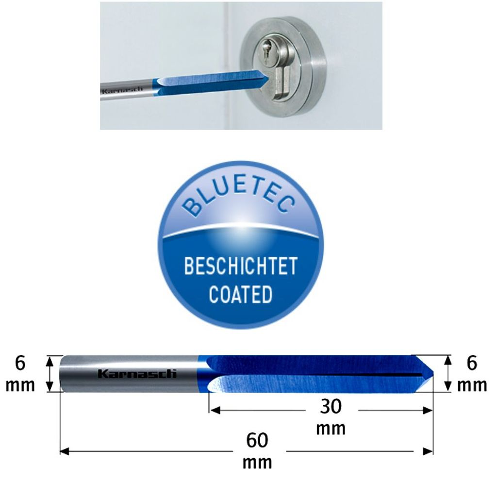 6mm VHM Vollhartmetall Bohrfräser für Schlüsseldienste BLUE-TEC beschichtet