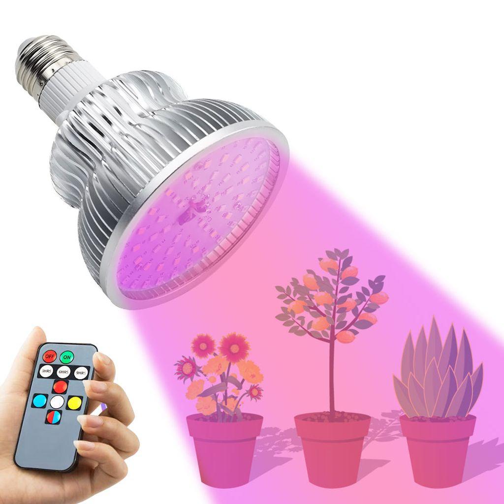 E9 9W LED Grow Light Vollspektrum Pflanzen Lampe Wachsen Licht Birne mit  Remote Timer Funktion und 9 Farbeinstellungen Pflanzenlicht