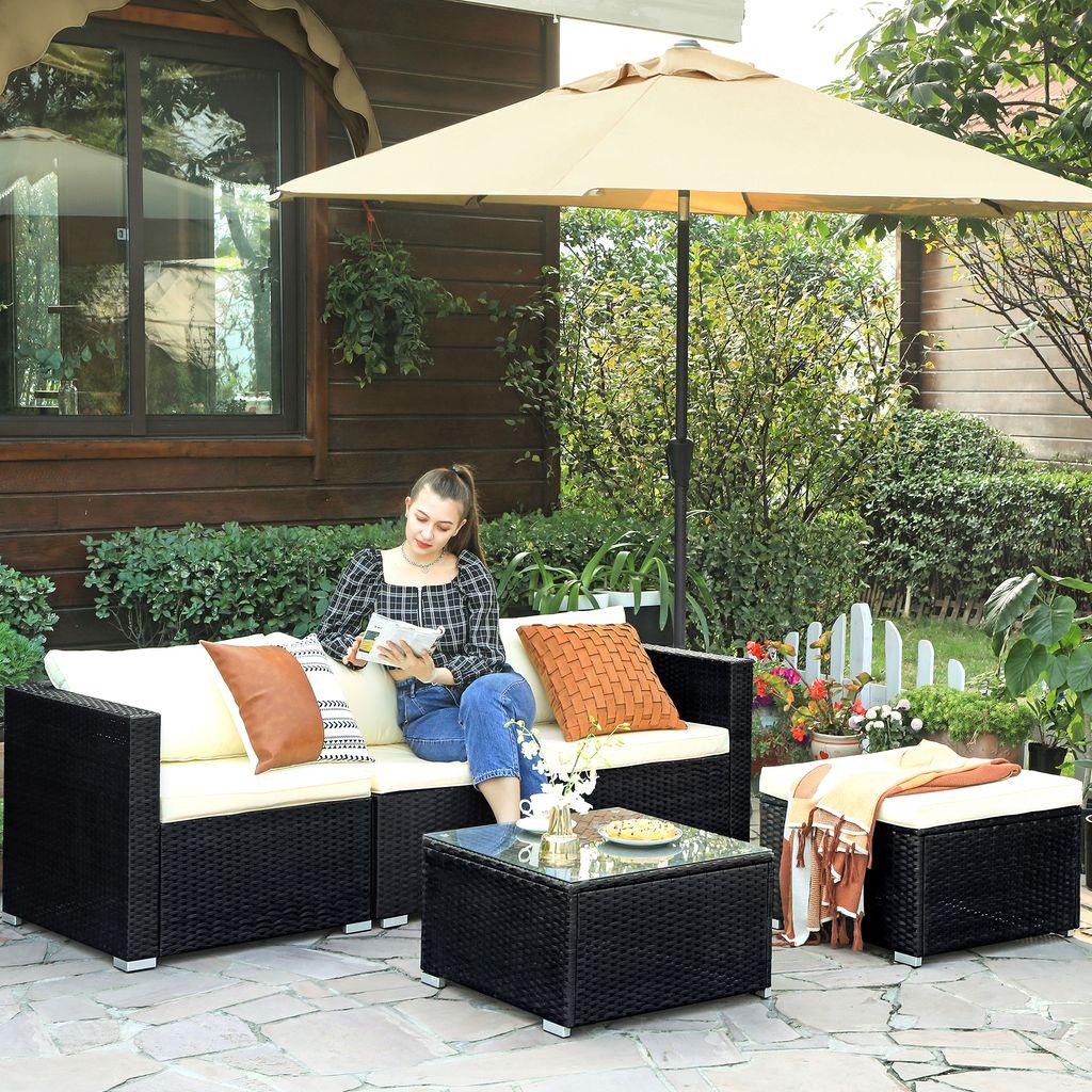 einfache Montage schwarz GGF010B01 f/ür Outdoor Terrasse Beistelltisch und 2 St/ühle aus Polyrattan Garten Balkon 3er Set SONGMICS Gartenm/öbel-Set