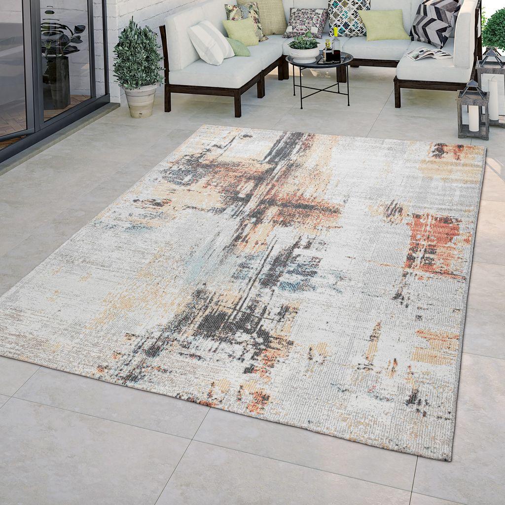 In & Outdoor Teppich Terrasse Küchenteppich Vintage Abstraktes Muster Beige  Creme, Größe8x8 cm