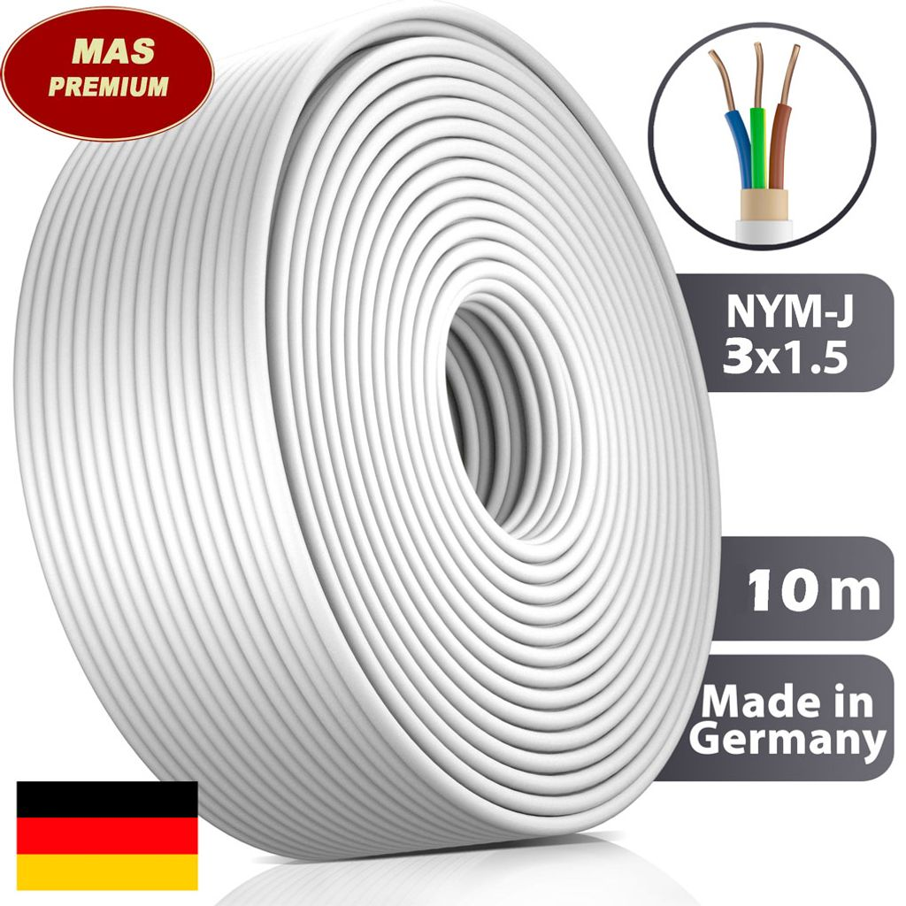 Feuchtraumkabel Stromkabel Mantelleitung 10 m NYM-J 5x6 mm² Elektrokabel