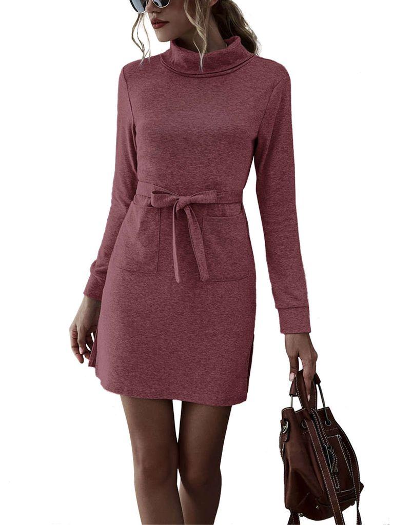 Damen Langarm Minikleid Frauen Casual Holiday Side Split Slim Fit Bodycon  Kleider Jerseykleider,FarbeRot,GrößeM