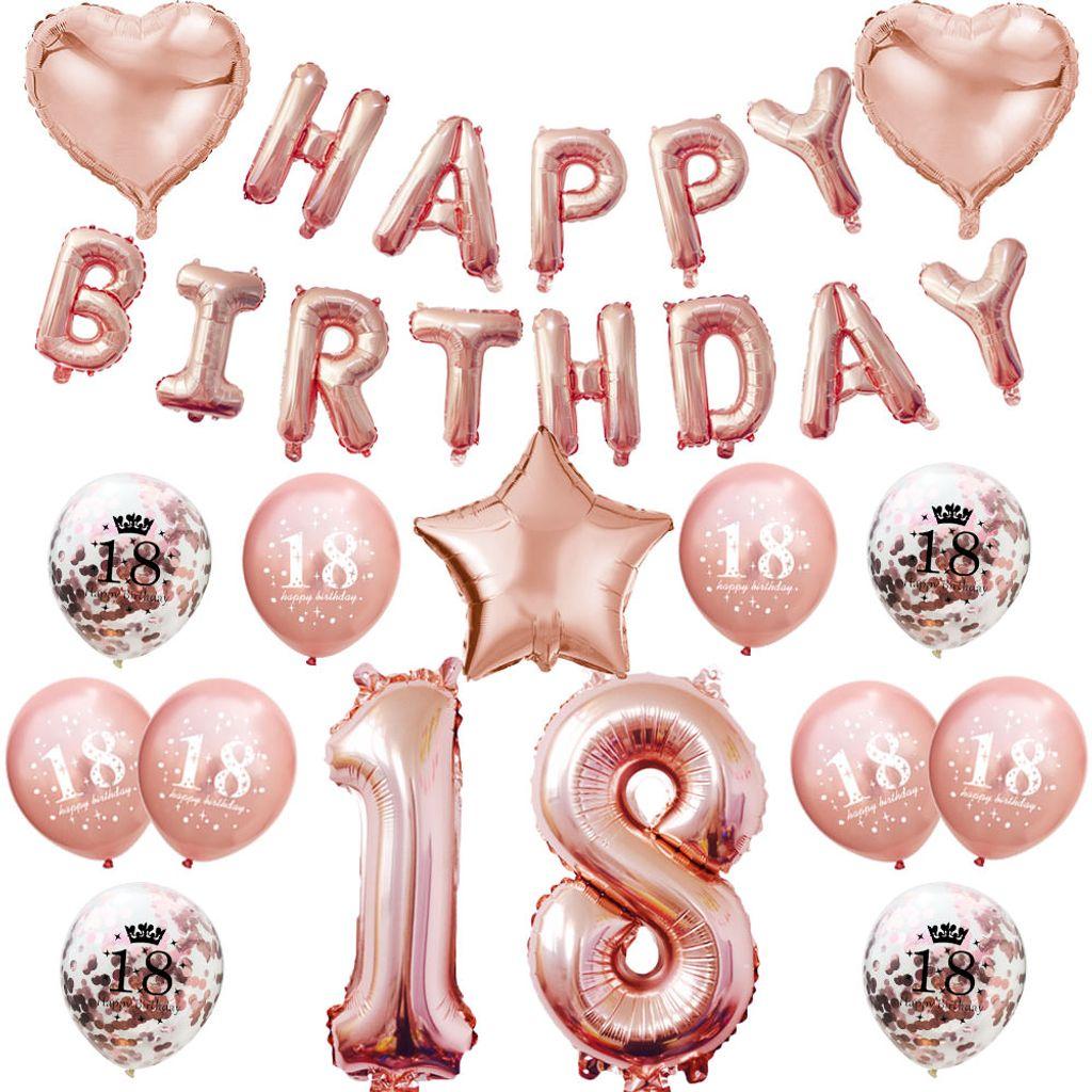 Oblique Unique 8. Geburtstag Party Deko Set   Happy Birthday + Zahl 8  Ballons + Konfetti Luftballons roségold