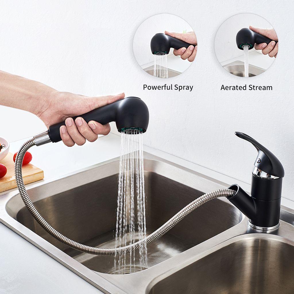 Ausziehbar Küchenarmatur Einhebel Becken Wasserhahn Spültischarmatur mit Brause