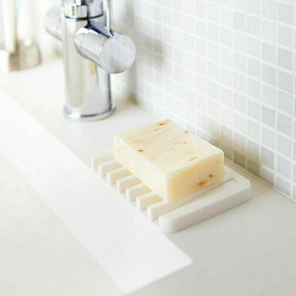 20Stk Seifenschale Seifenhalter Silikon Seifendose Seife Seifenablage  Badezimmer Weiß+Grau