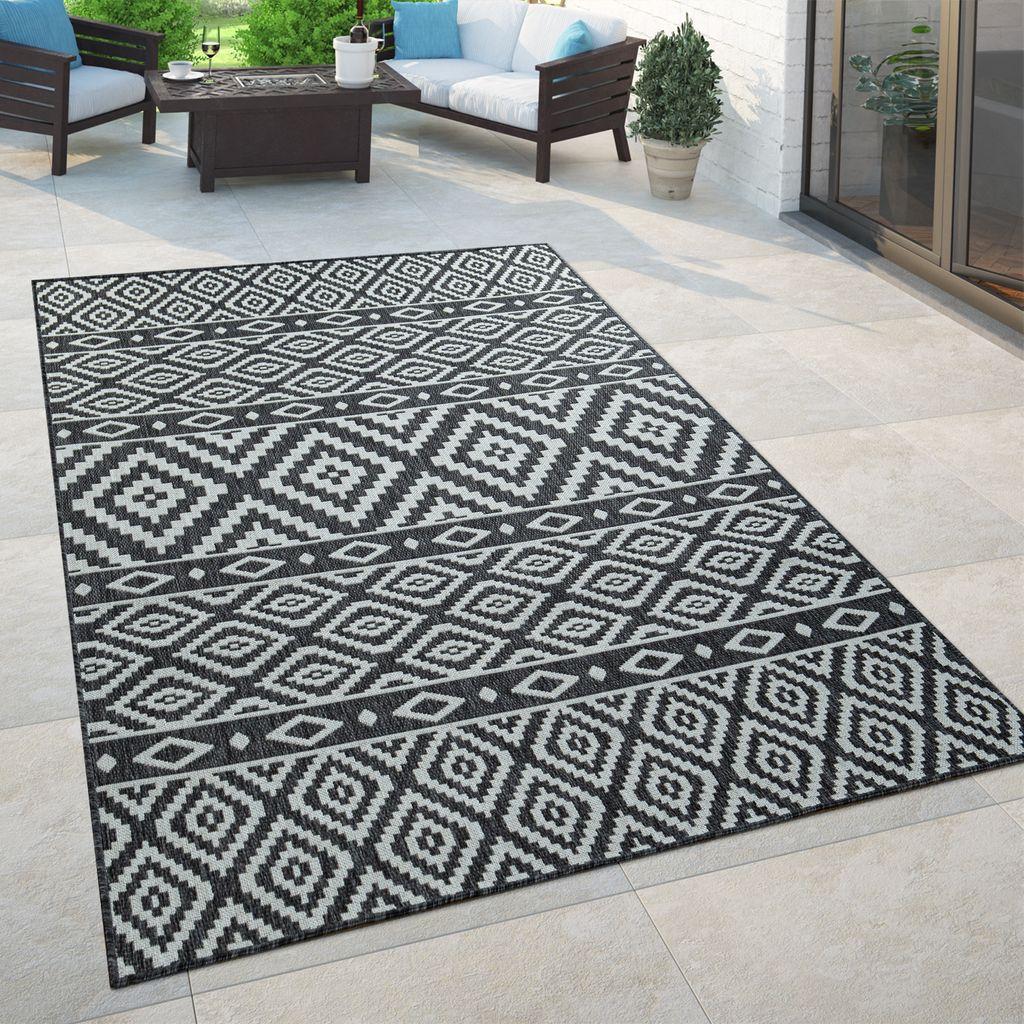 In  & Outdoor Teppich, Für Balkon Und Terrasse Mit Skandi Muster, In  Schwarz, Grösse8x8 cm