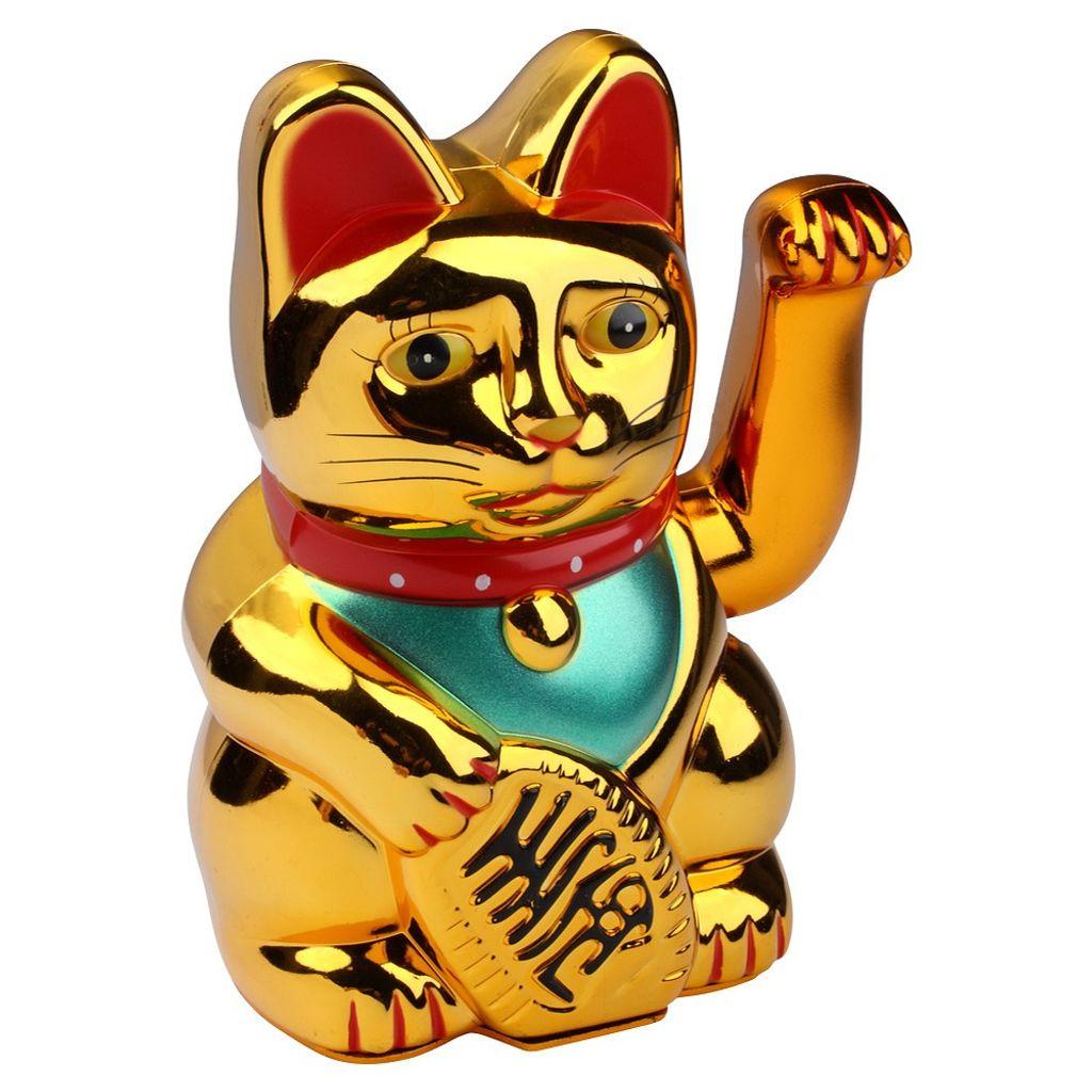10x Maneki Neko Winkekatze Gold winkende Katze groß chinesische Glückskatze