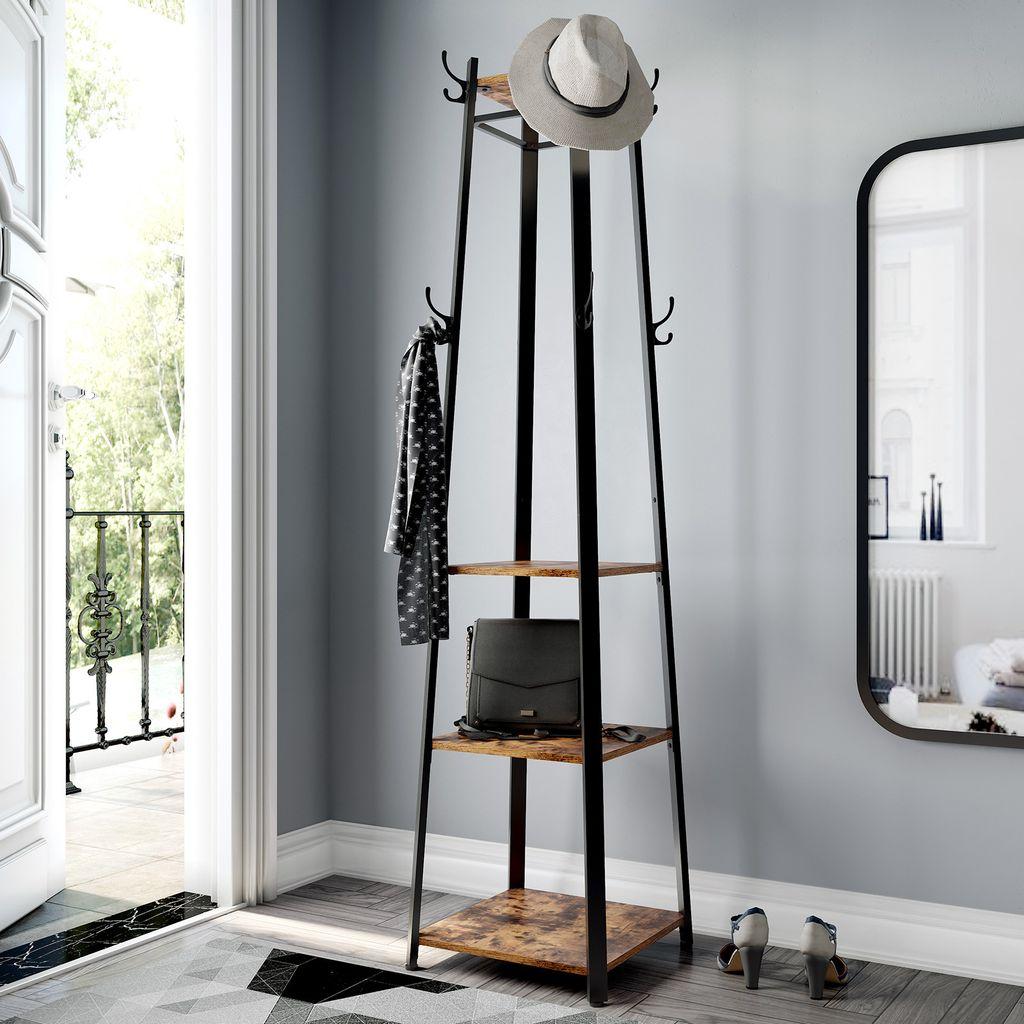 Garderobenständer mit 20 Ablagen Haken 20 x 20 x 20 cm im Industrie Design  Kleiderständer Garderobe Kleiderstange stabil mit Metallgestell Holzoptik  ...