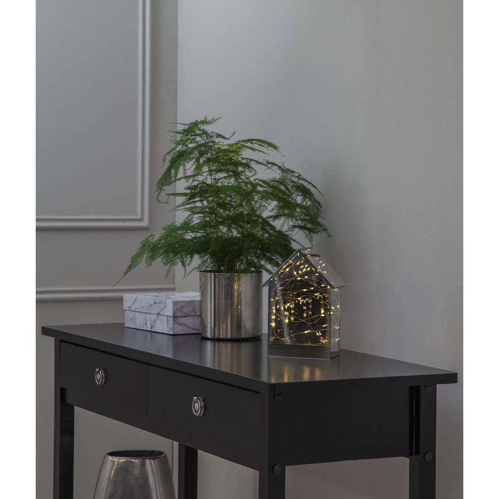"""warmweiße LEDs LED Glashaus /""""Mirror House/"""" Lichterkette Silberdraht Timer"""
