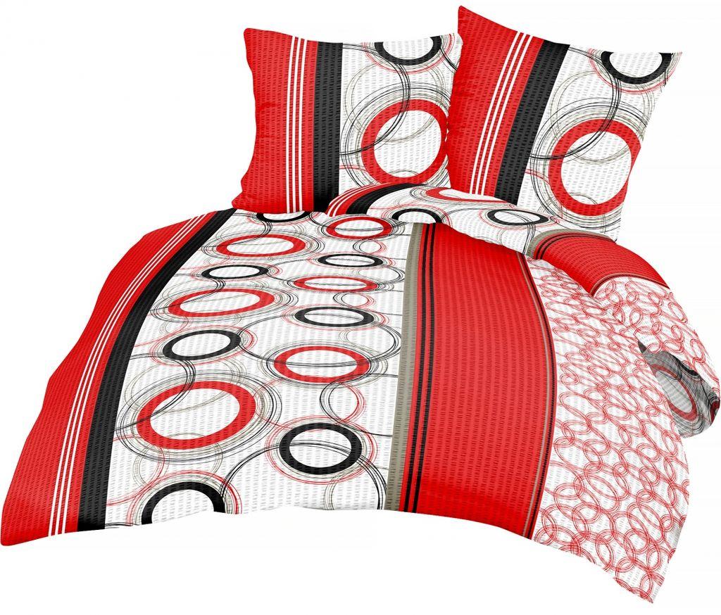 2 tlg Seersucker Bettwäsche Bettbezug Bettgarnitur Baumwolle Rosa 135x200 cm