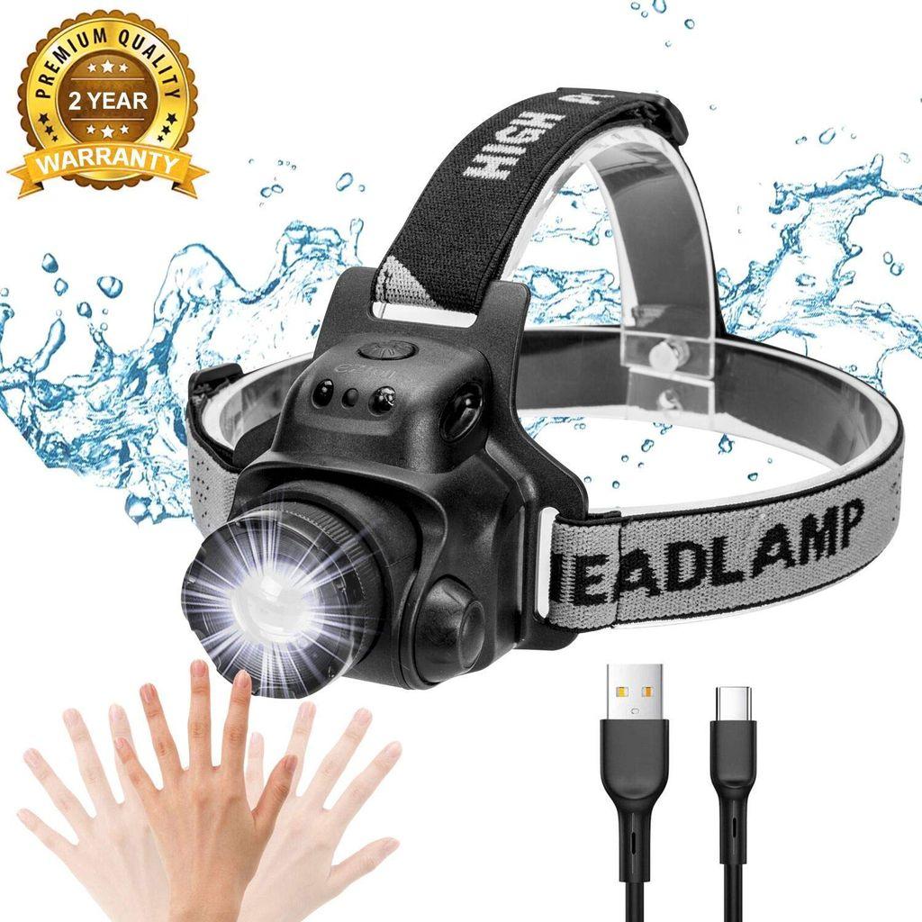 Wasserdicht LED USB Scheinwerfer Stirnlampe Lampen Kopflampe mit Akku /& Sensor
