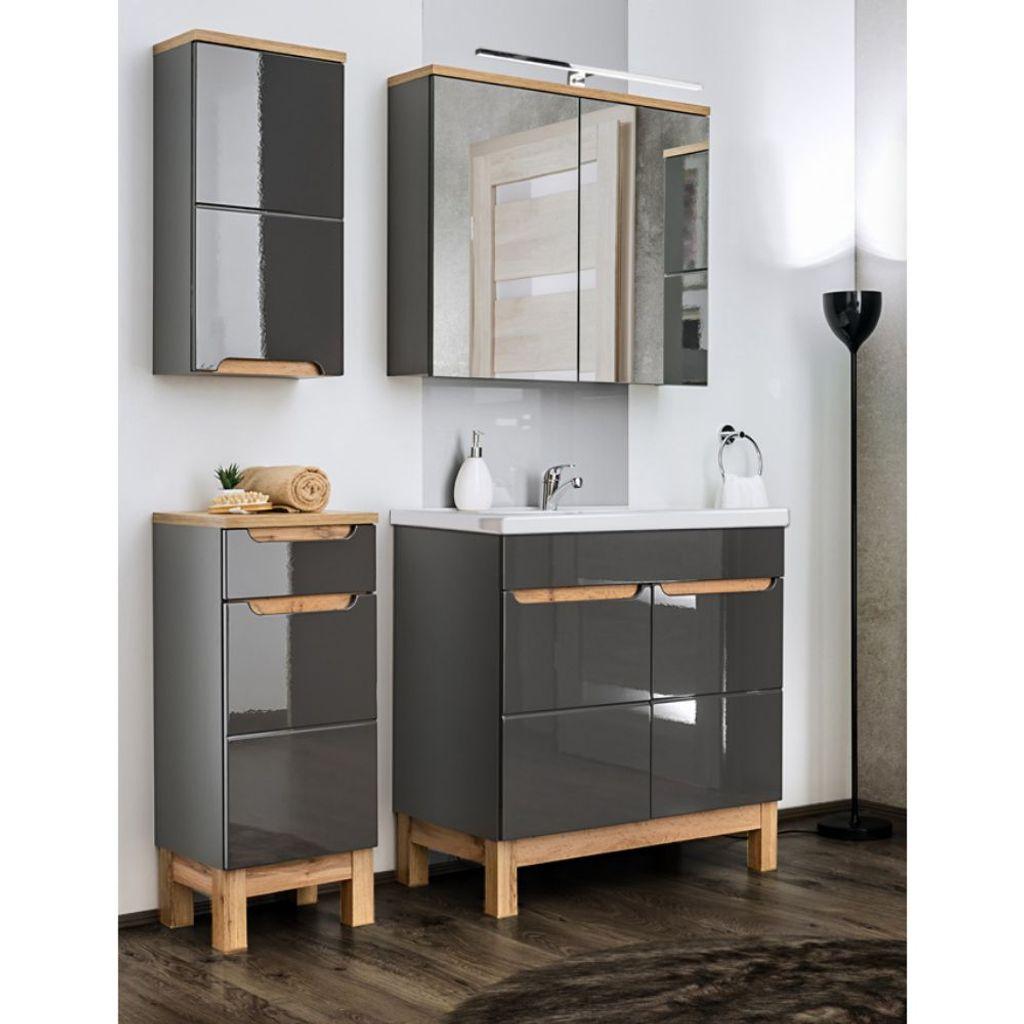 Badezimmermöbel Set mit 20cm Waschtisch & LED Spiegelschrank SOLNA 20 in  Hochglanz grau, B/H/T ca. 20/20/20 cm