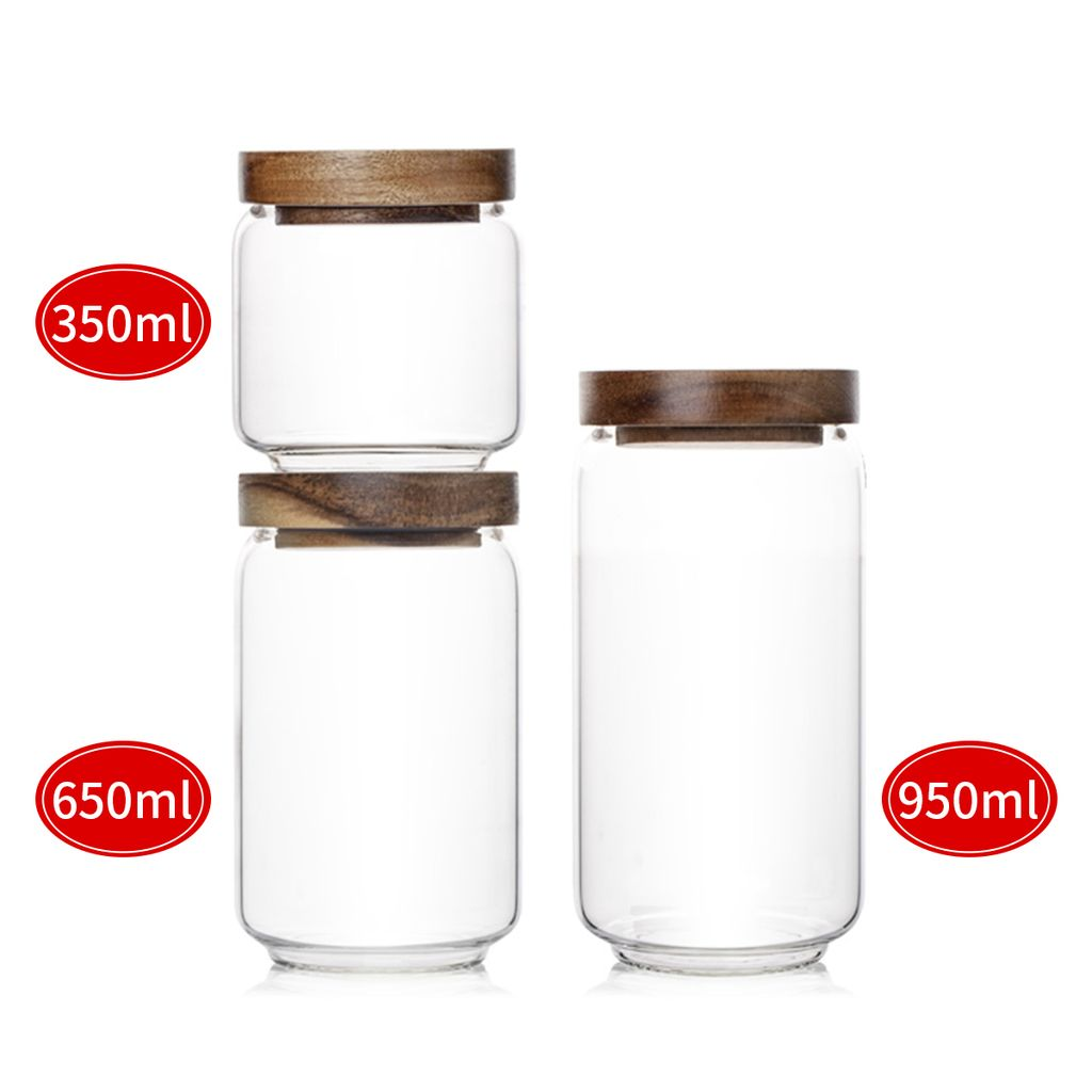 Premium Vorratsdosen Holz Deckel Vorratsgläser Glas Behälter Dose  Kaffeedose 1222x Vorratsglas 1222 ml + 1222x 122 ml + 1222x 12 ml