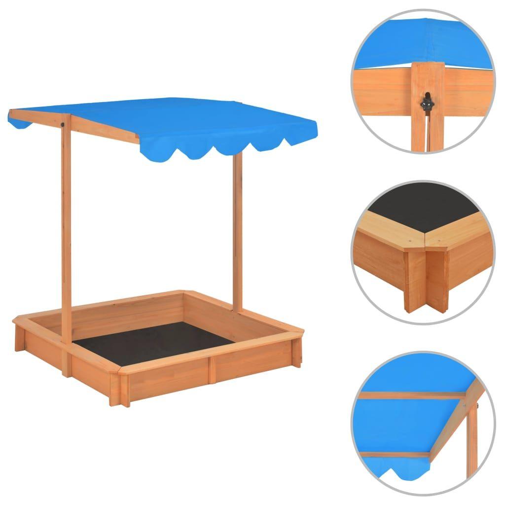 20+ vidaXL Sandkasten mit Verstellbarem Dach Tannenholz Blau UV8 Stock