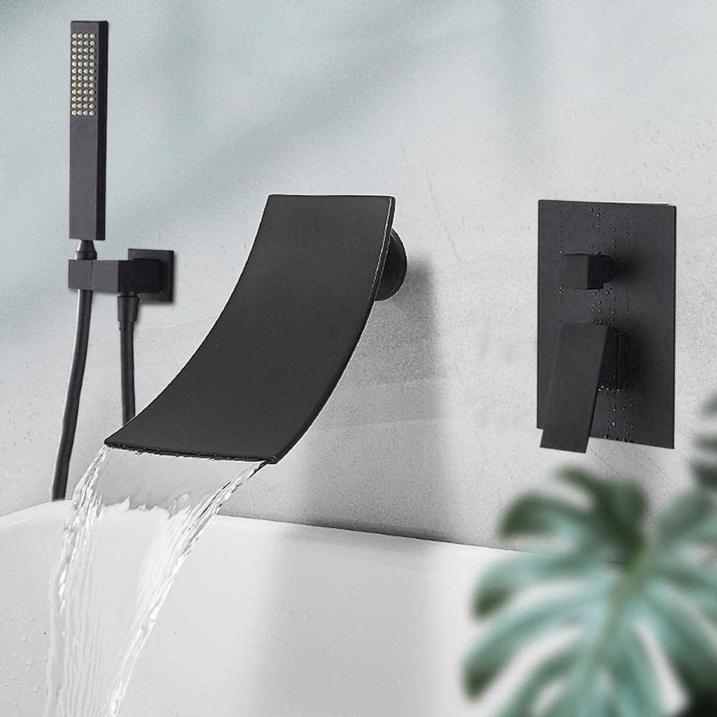 Badewannenarmatur Wannenarmatur Handbrause Bad Armatur Wasserfall Wandmontage DE