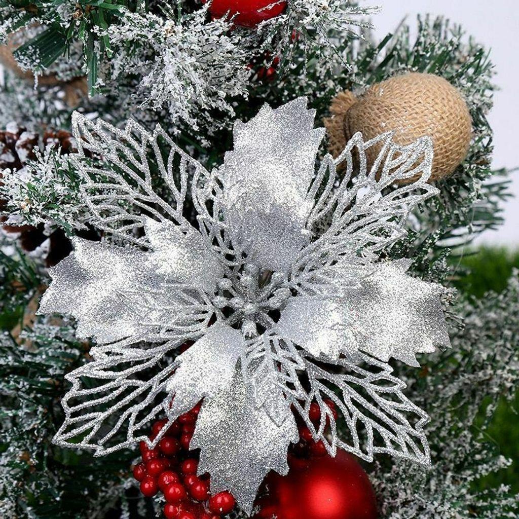 Weihnachtsbaumdekoration Weihnachtsstern Glitter Weihnachten künstliche Blumen