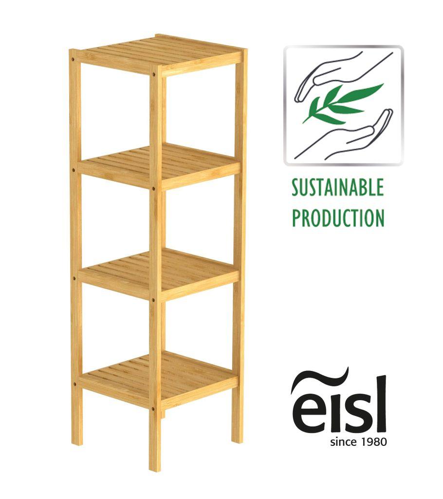 EISL Badezimmer Regal Bambus, Badregal schmal mit 20 Ablagefächern,  nachhaltiges Badmöbel Bambus