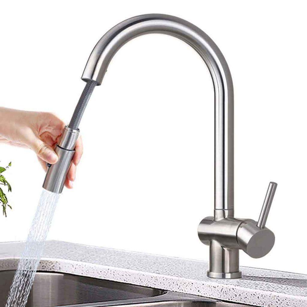 Ausziehbar Wasserhahn Küche Küchenarmatur Spültischarmatur Mischbatterie Brause