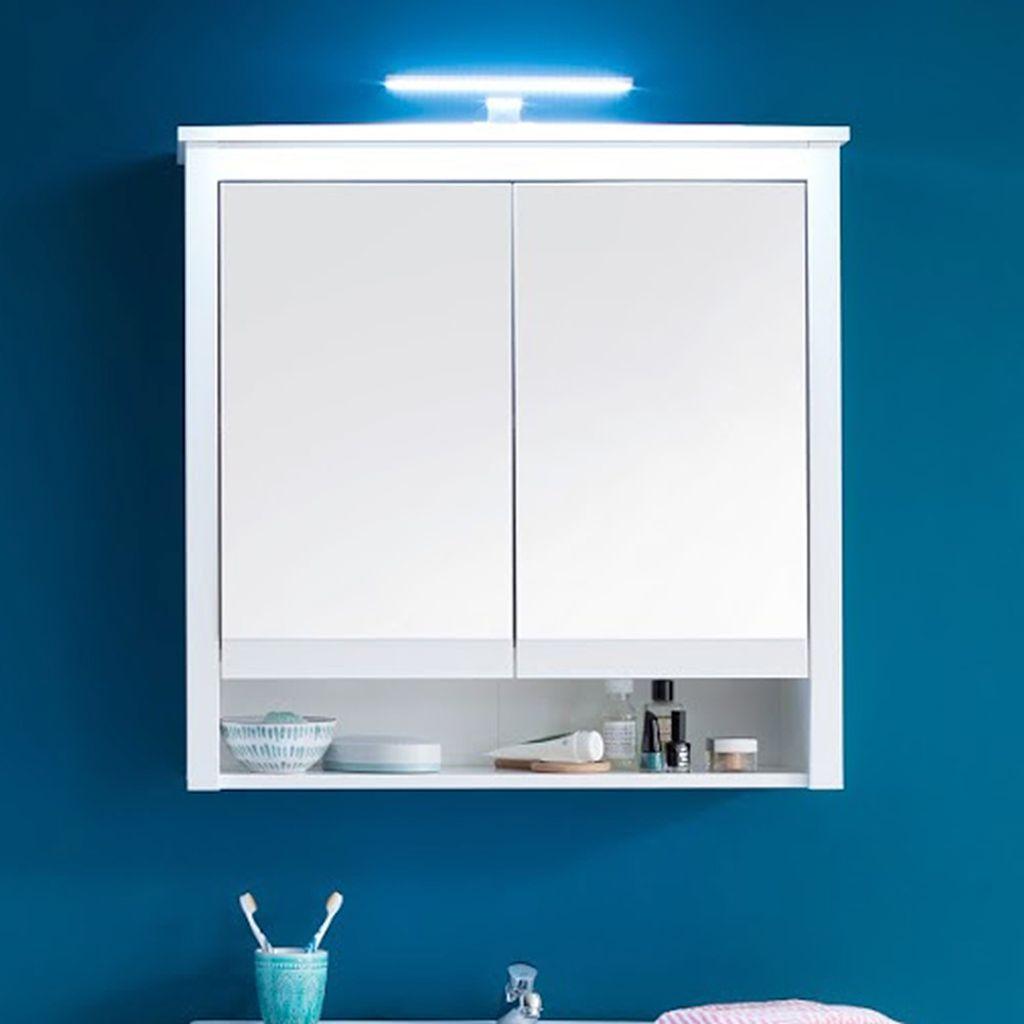 Spiegelschrank mit LED Beleuchtung Badezimmerspiegel Ole Weiß 20 x 20 cm