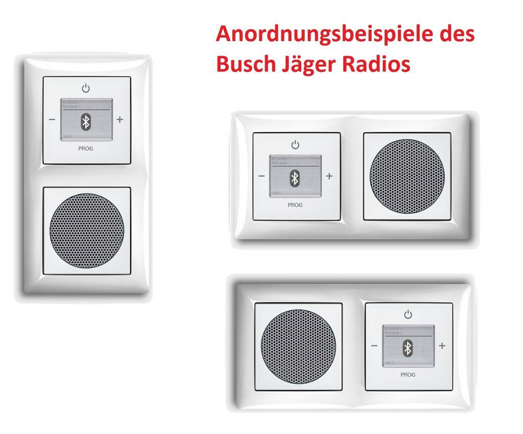 Busch Jäger Unterputz UP Bluetooth Radio 200 U 200U alpinweiß  KomplettSet im eleganten Busch balance SI/Radio + Lautsprecher + 20fach  Rahmen ...