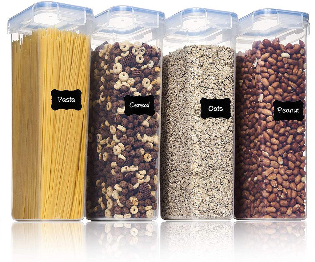 Kunststoff Vorratsdosen luftdicht Mehl 24 Etiketten f/ür Getreide Zucker usw Satz mit 7 M/üsli Sch/üttdose /& Frischhaltedosen Vtopmart Vorratsdosen Set