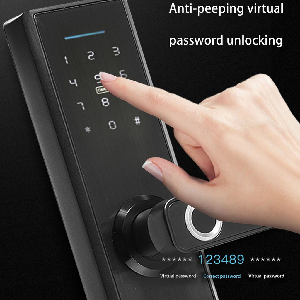 Intelligentes T/ürschloss 5-in-1-APP-Steuerung//Passwort//Fingerabdruck//IC-Kartenschl/üsseleingabe Diebstahlsicheres T/ürschloss Bluetooth-Sicherheit Digitales biometrisches Schloss