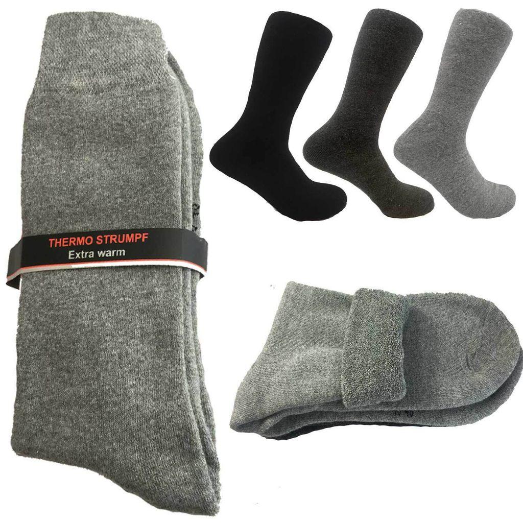 2 Paar Damen Herren Thermo Diabetiker Socken sehr dehnbar vollfrottee schwarz
