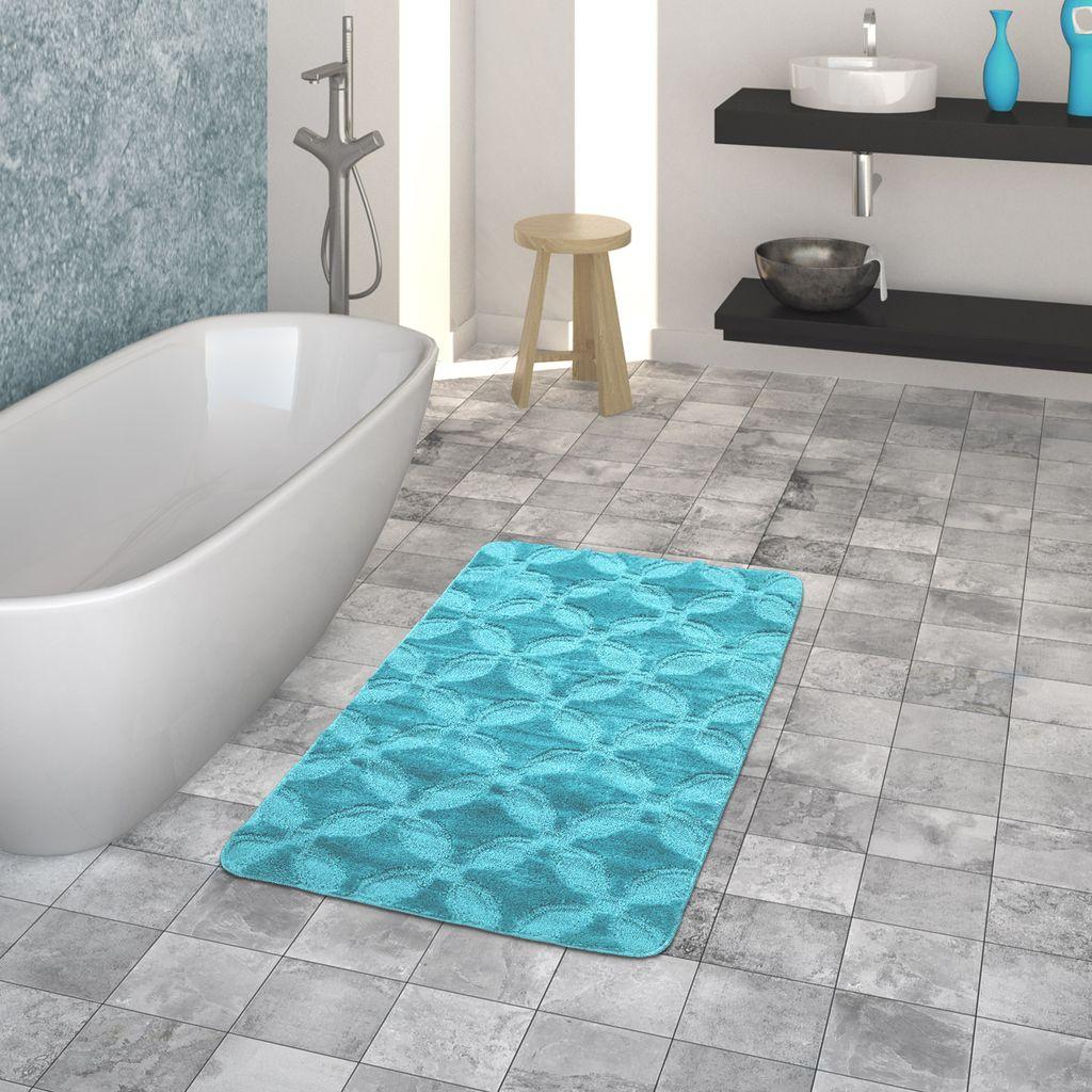 Badematte, Kurzflor Teppich Für Badezimmer Einfarbig Kreis Muster, In  Türkis, Größe20x20 cm