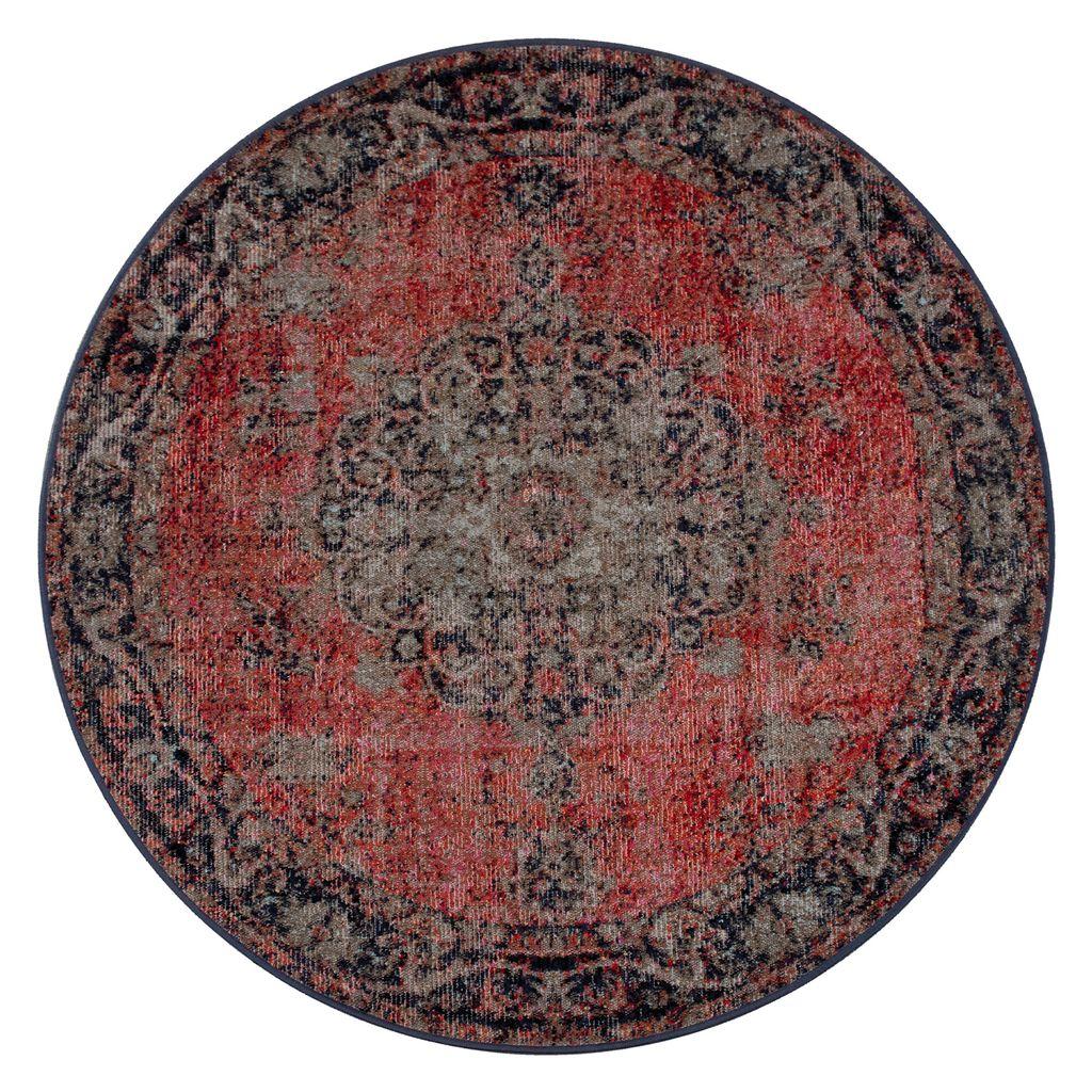 In  & Outdoor Teppich Mit Orient Muster, Für Balkon Und Terrasse, In Rot,  GrösseØ 8 cm Rund