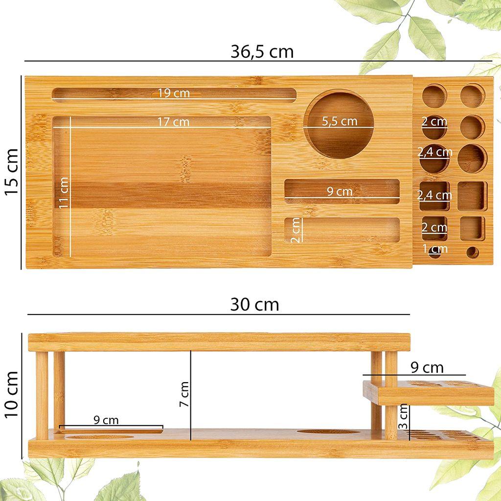 ONVAYA® Organizer für Make up & Schminke   Kosmetik Organizer aus  Bambus Holz   Aufbewahrungsbox fürs Badezimmer   Ordnungsbox für Bad,  Schminktisch ...