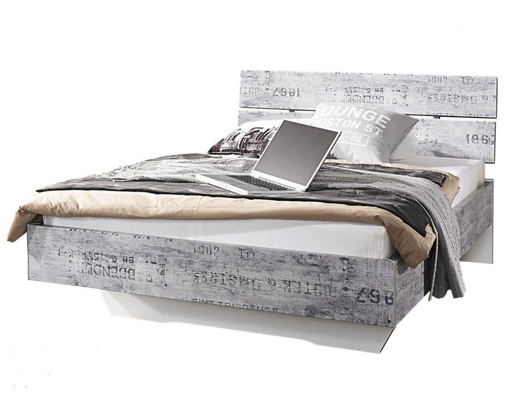 RAUCH A12 12T12 Bett Einzelbett 12 x 12 cm »SUMATRA EXTRA« Vintage Optik  Grau Weiss