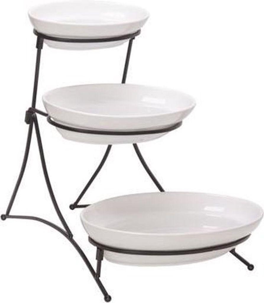 dekojohnson Moderne Etagere 3 St/öckig Kuchenst/änder Cupcakest/änder Servierst/änder Muffinst/änder Geb/äckst/änder Mango-Holz 30x54 cm