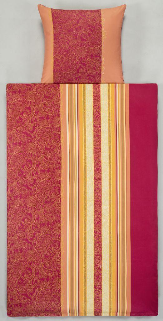 SONDERPOSTEN Mako-Satin Bettwäsche Orange Rosa Streifen