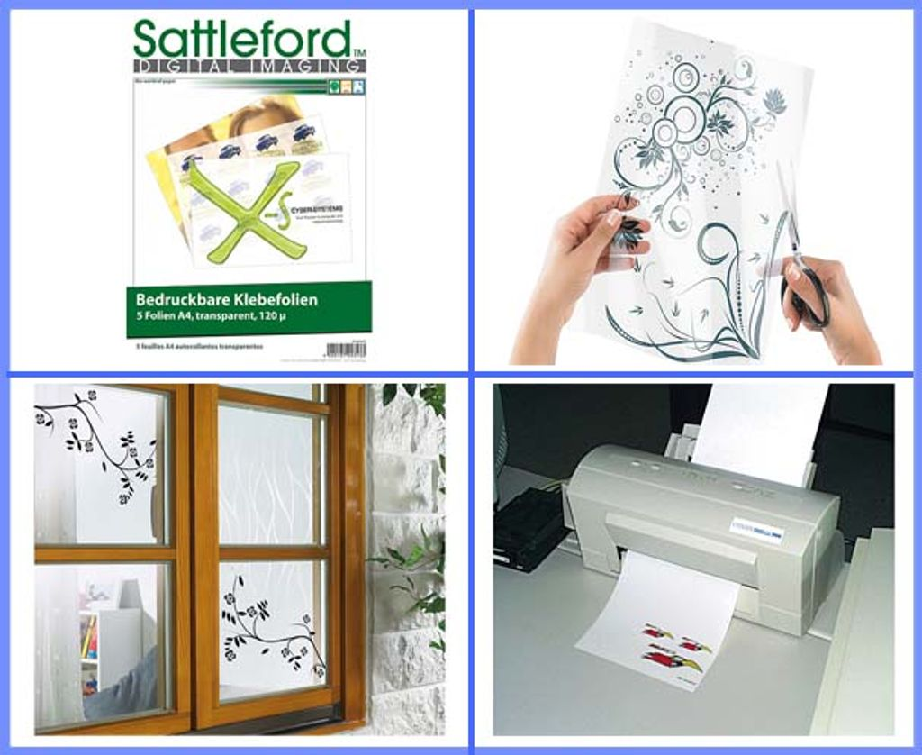 Bedruckbare Klebefolie 12 Klebefolien A12 transparent für Inkjet Drucker  Klebefolie zum Bedrucken